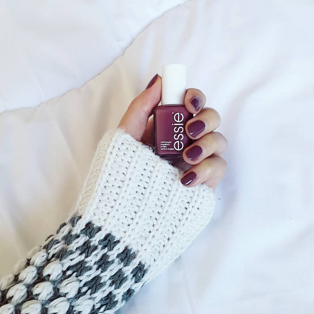 "Essie ""Angora cardi"" nail polish deep rose color"