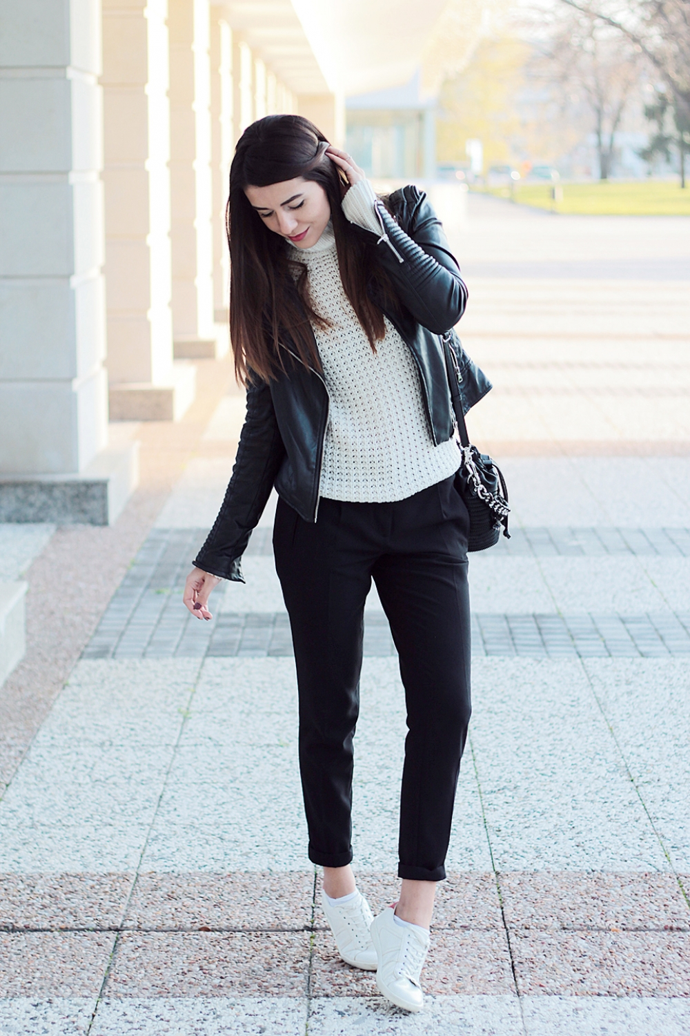 Formal pants + white sneakers